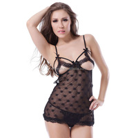 2015 Clothes online shopping lady black super sexy transparent babydoll