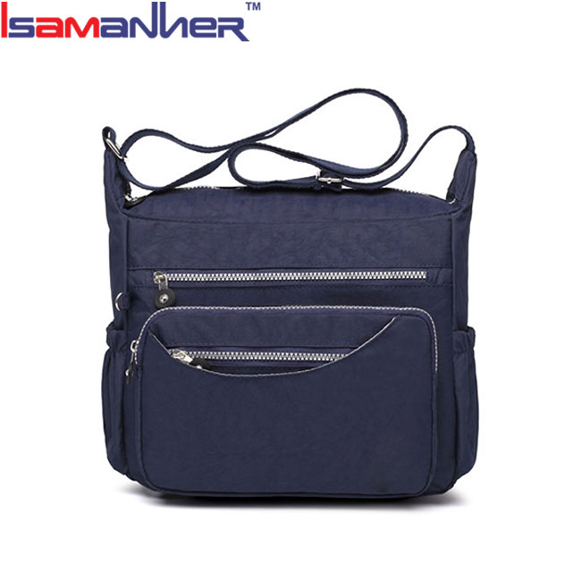 Women waterproof nylon crossbody bags zipper cheap custom shoulder bag