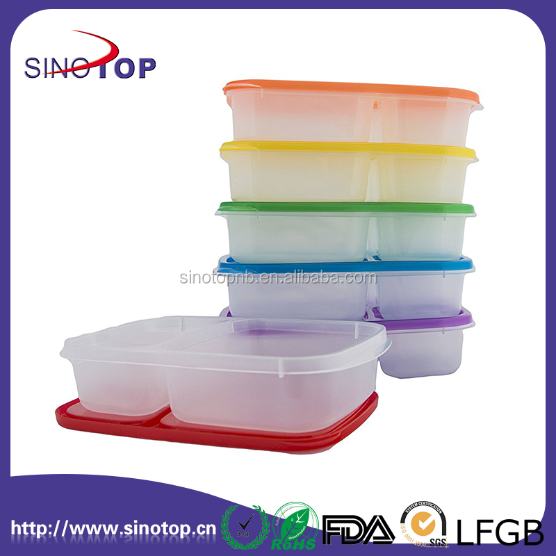 Dishwasher Safe BPA Free Plastic 3-Compartment Lunch Box with Lid 6 sets Reusable Lunchbox