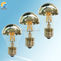 wholesale filament led A60 edison lamp e27 led mirror bulb half-chrome light bulb 4w 6w 8w Approved CE EMC ERP LVD