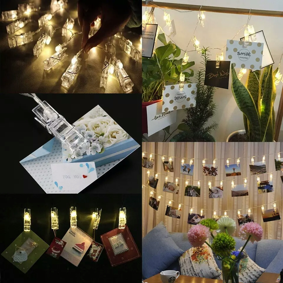 Transparent Cable 10L 20 LED Fairy Lights Inside Clear Photo Clips String Lights USB Powered led clip light