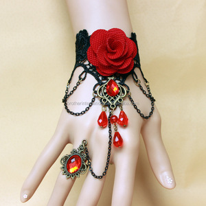 Fashionable hand cuff indian bracelet rings embroidered lace bracelet