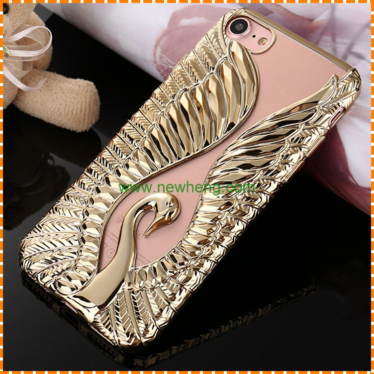 Luxury Swan flower electroplating Relief hard pc phone case for iphone 7 plus