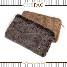 Low Price Fancy Small Fake Fur PU Handle Strap Light Brown Evening Clutch Bag