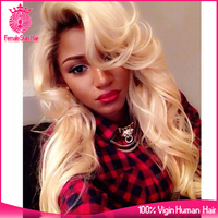 Female Star Hot summer cut #4-613 long blonde 150% density human hair full lace wig