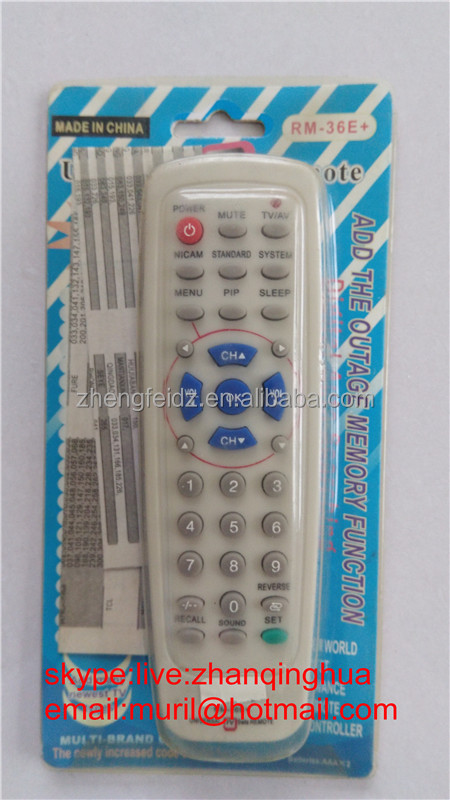 High Quality Gray 33 Buttons RM-36E+ UNIVERSAL TV REMOTE CONTROL , ADD OUTAGE MEMEORY FUNCTION with Blister Package