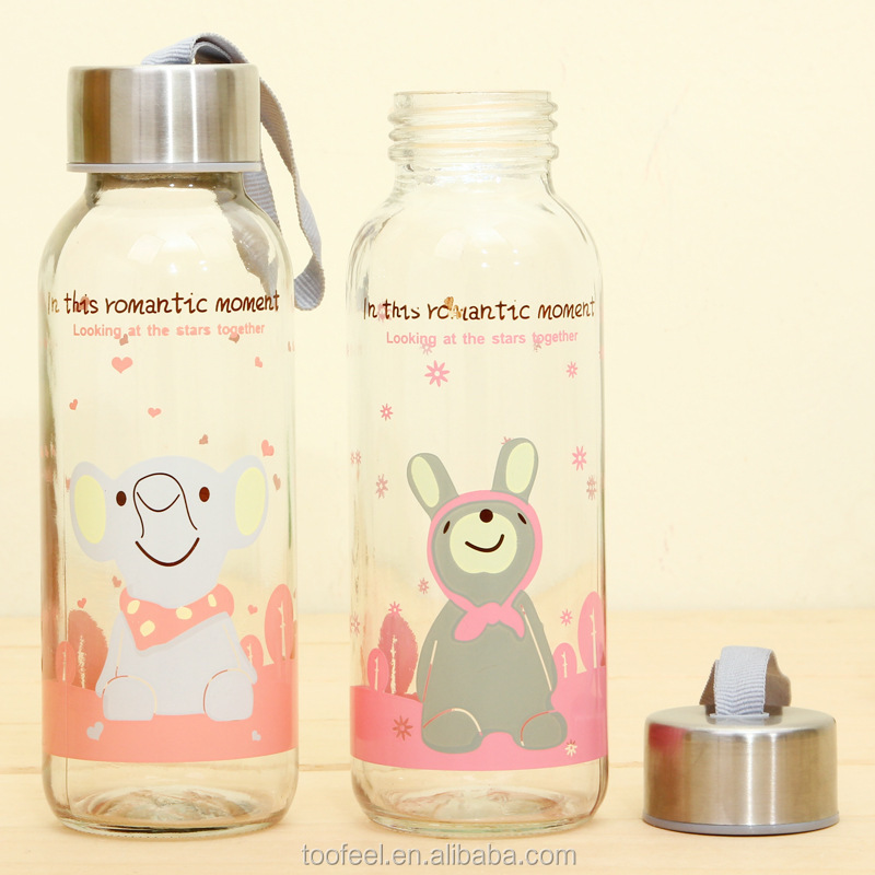 Water Bottles Drinkware Type and LFGB,FDA,CIQ,CE / EU,SGS,EEC Certification wide mouth glass water bottle with rabbit images