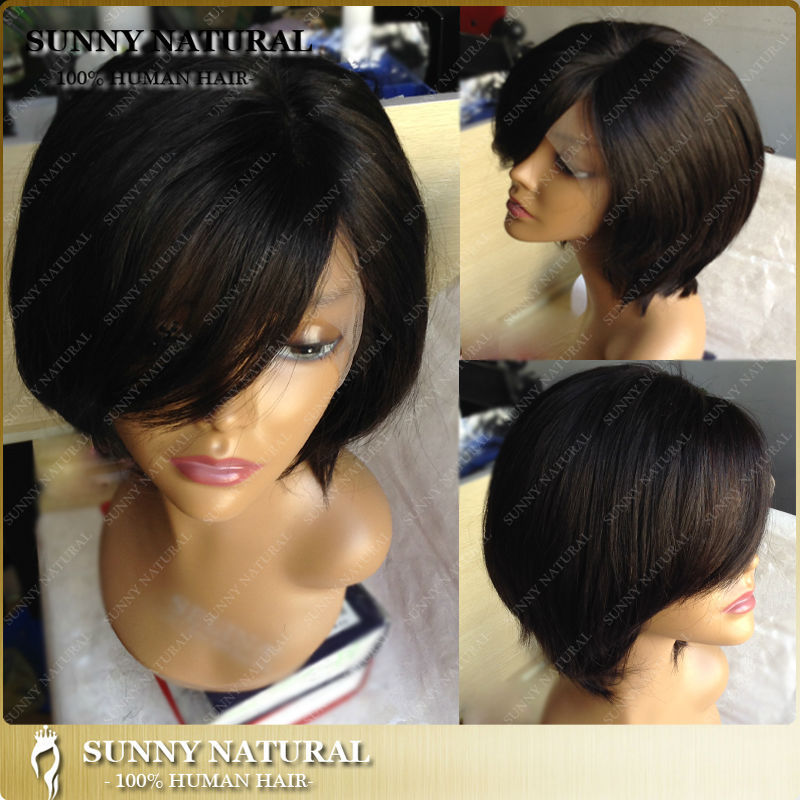 1B human hair short bob lace front wig brazilian hair wigs with left side bangs