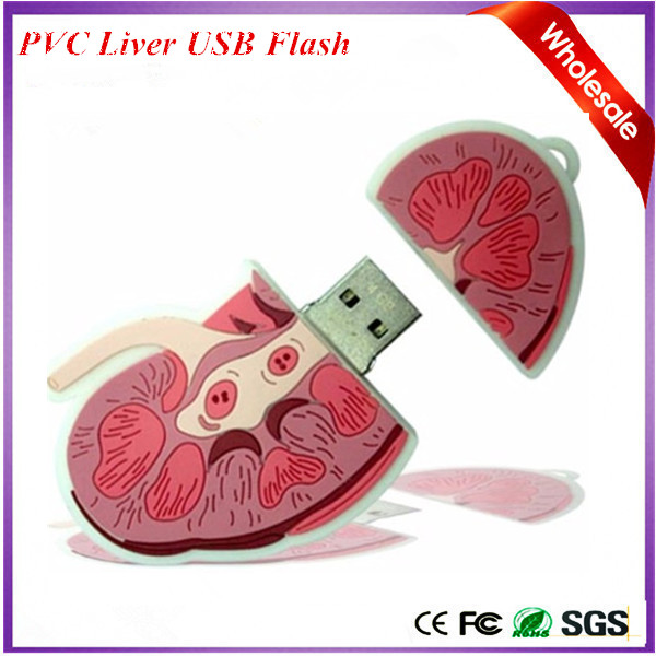 Novelty Gifts Electronics Flash Memory PVC Liver Shape USB Flash Drive