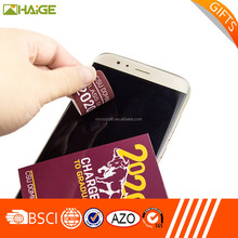 Custom microfiber sticker screen cleaner, sticky phone cleaning cloth, mobile phone wipe