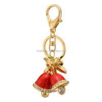 handy and custom golden plated zinc alloy crystal enameled bells with flower pendant key ring jewelry