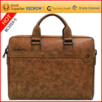 Factory best selling cow leather computer briefcase