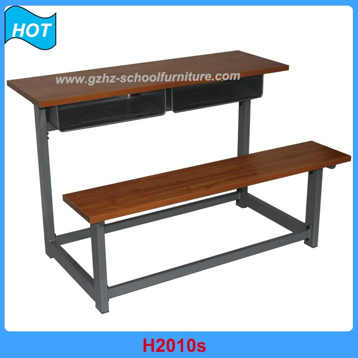 Cheaper double student desk chair attached Wooden School Table and Bench Set