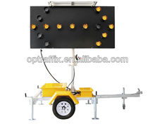 OPTRAFFIC Road Sign Board LED Arrow Light Solar Traffic Trailer Sign