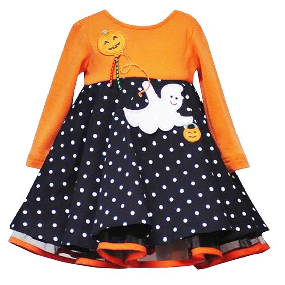 High quality children long sleeve outfits print pumpkin &ghost girls baby halloween boutique dress