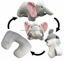 Cartoon Grey elephant plush toy U shape neck pillow 2017 Personalized car memory foam neck support travel pillow