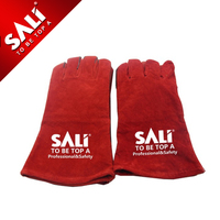 Red Hand Safety Protection Leather Welding Gloves