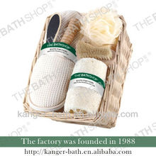 OEM personal care bath spa gift set in willow basket with 6pcs items