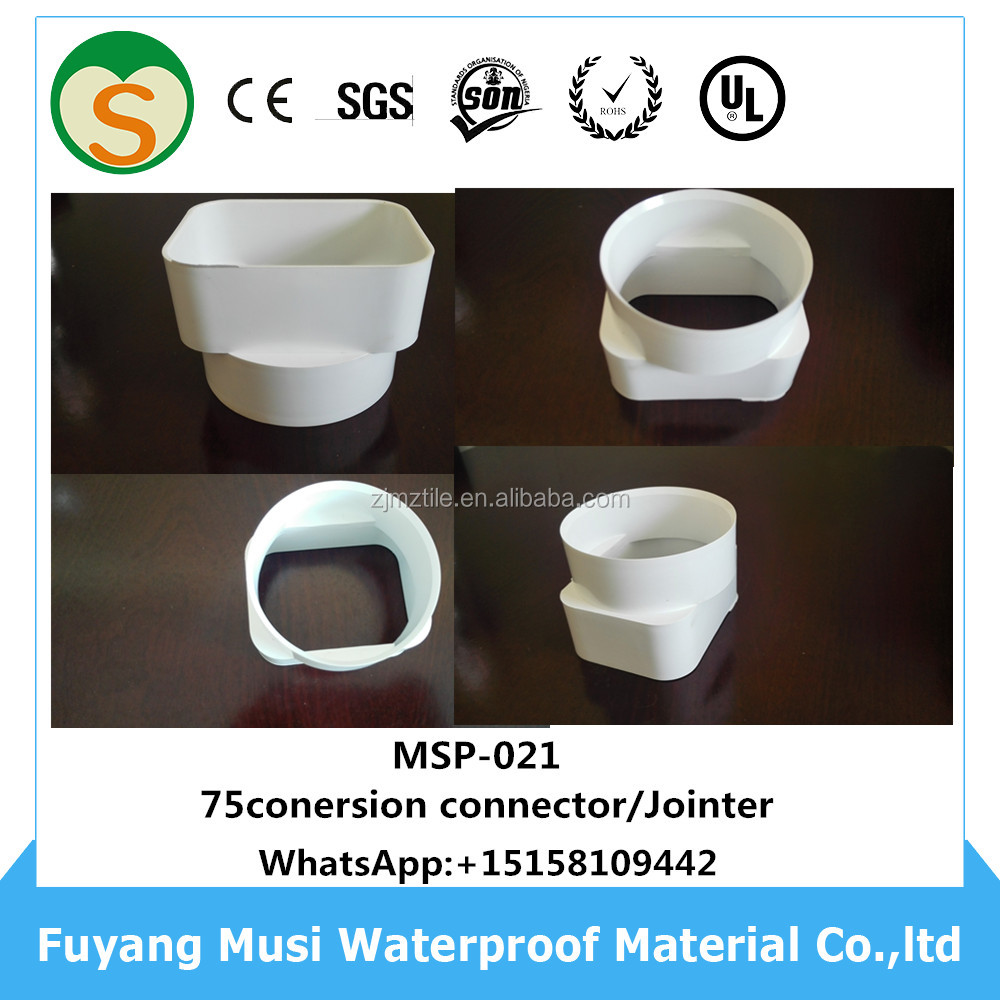 Certificated Hotsale 7 inch pvc rain gutter fitting 75mm conversion joint