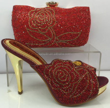 Bridal Italian Shoes With Matching Bag High Quality,lady high heels Shoes And Bag with stones For wedding party,F2594 RED