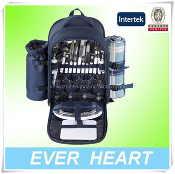 4 person Camping Hiking Family Outing Outdoors thermos picnic backpack for cooler Food Carrying Case
