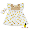 Christmas Gold Deer-head Printed Withe Cotton Smocking Dress Match Bow Kids Girls Frock Designs