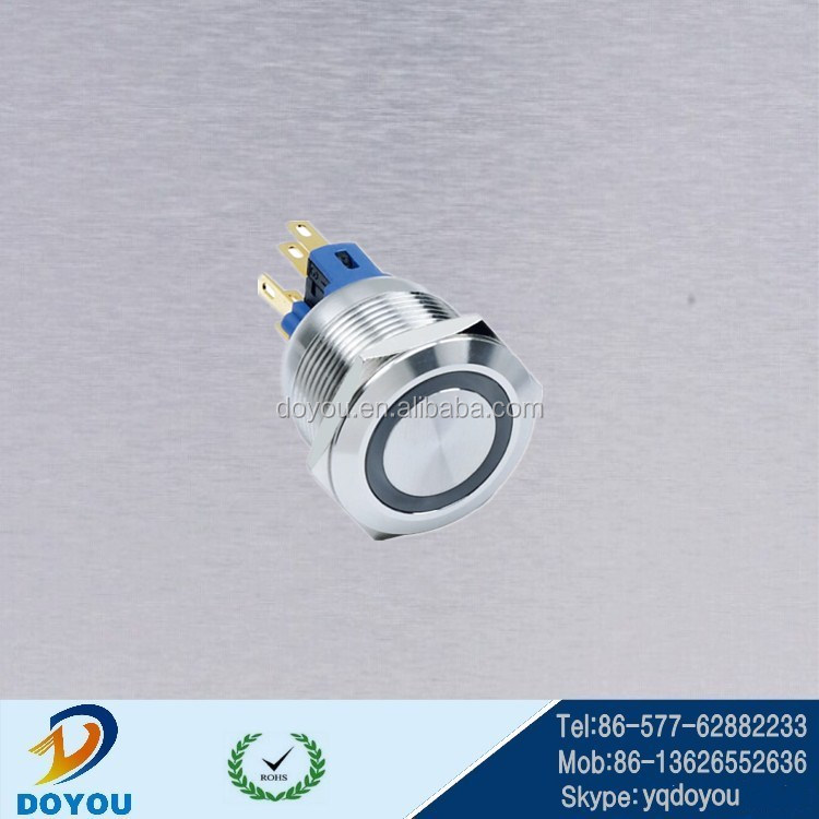 22mm flat 12v Annular led latching ring push button switch