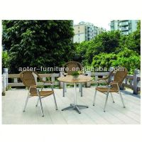 Leisure rattan dining round table and chairs