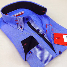 2015 Italian fashion cotton casual cheapest contrast collar and cuff latest shirt designs for men