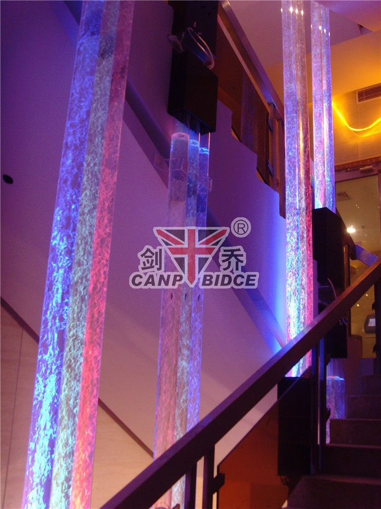 Restaurant led interior decorative columns water bubble