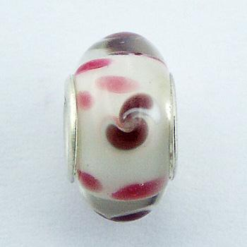 Murano Glass Bead Floating Dotted Hue Of Red Pattern