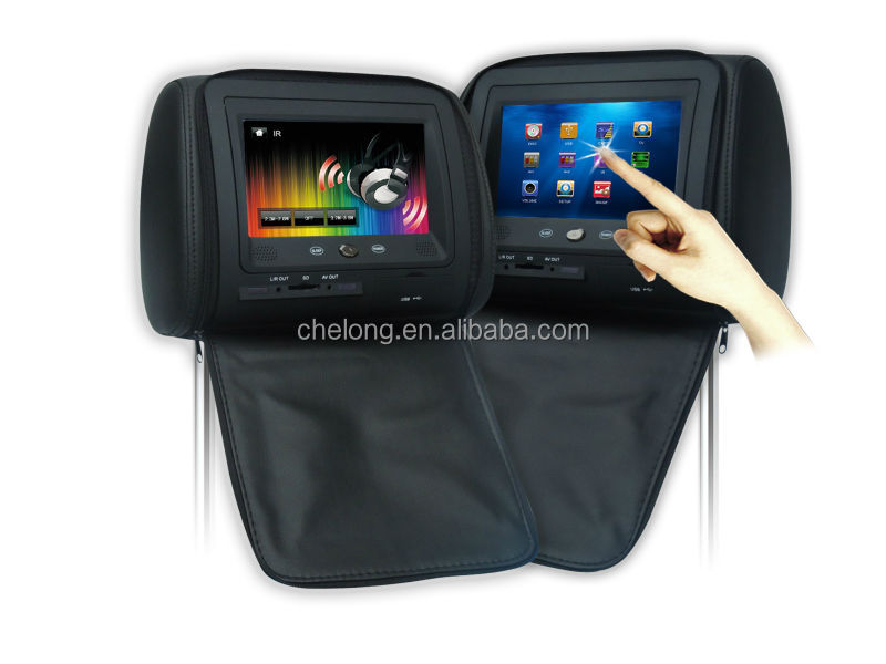 Touch Screen 7 Inch Headrest Car DVD Player Support 2 Channes IR Headphone