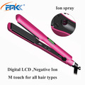 Ionic flat irons frizz free private label hair straightining iron LCD display ceramic hair straighteners for all hair types