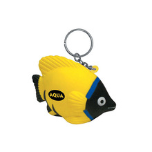 Aqua 3D Shape Rubber Fish Key Chain For Give Away Promotion