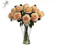 High quality silk rose bouquet in glass vase, artificial rose flower