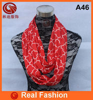 TOP QUALITY!! Factory Supply red jersey quatrefoil infinity scarf A46
