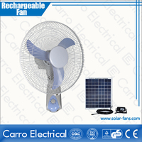 2014 CE-12V16F 16 inch plastic rechargeable fan solar outdoor stand fans with timer