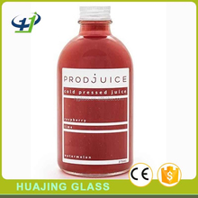 beverage industry use 250ml 500ml glass boston round bottle with lid for cold pressed juice