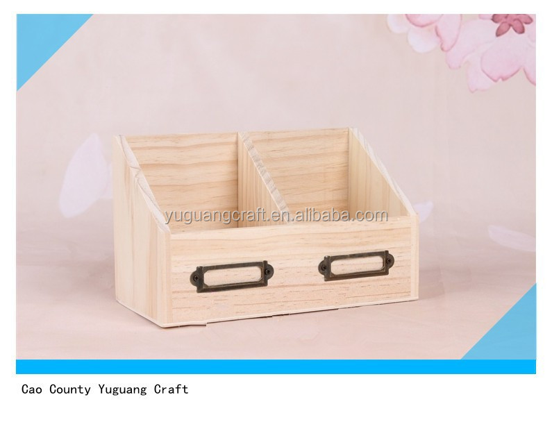 unfinished wooden book storage box with 2 divisions for office
