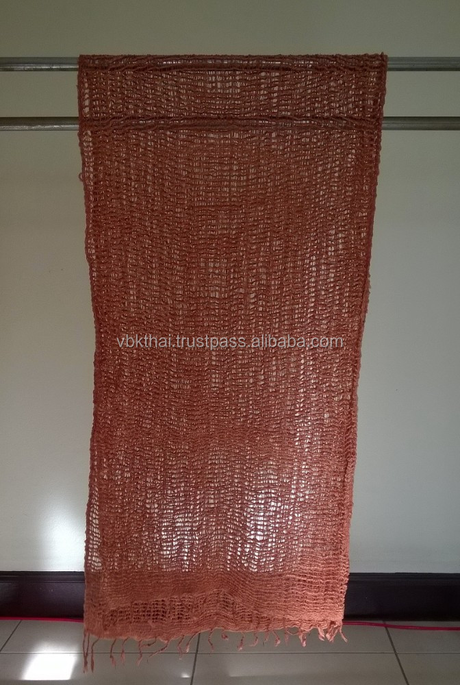 Dark Red Scarf and Shawl Genuine Naturally Dyed Colour Handmade Handcraft Weaving Scarfs & Shawls from Thailand