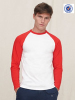 White and red color men long sleeve t-shirts wholesale for men long sleeve t-shirts