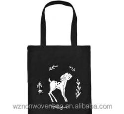Custom New Woman Canvas Shoulder Printed Shopper Cotton Tote Shopping Bag Black