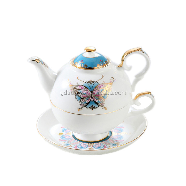 Hot Sale White bone china Fine Porcelain Butterfly Flower printing tea set for one with saucer