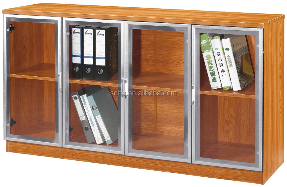 PT-<strong>L023</strong> mdf filing cabinet,4 door high cabinet,office bookcase Hot sales bookcase with glass doors