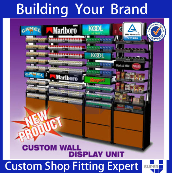cigarette display unit supermarket retail rack wooden shelving