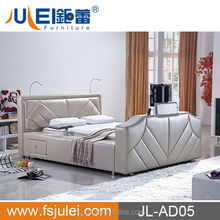 Modern Bedroom Furniture Plywood King Size Bed Leather Bed With TV In Footboard