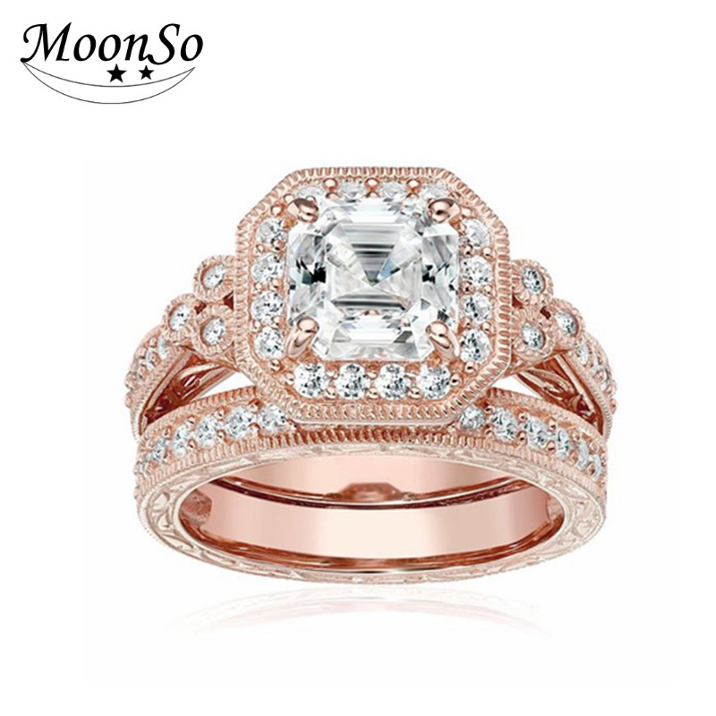 Gold Stamped 925 Sterling Silver Jewelry Zirconia Ring Set Wedding Engagement Band Ring For Women AR2500S
