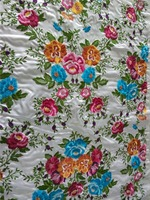 Latest fashion colourful &flower pattern design style embroidery fabric brocade for Kaftan