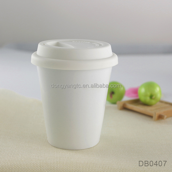 take away mug with lid 7oz 200ml white traval mug oem design double wall isolated outdoor anti spill silicone lid tumbler