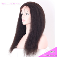 Brazilian Virgin Kinky Straight Hair Silk Base Full Lace Wig For Black Women